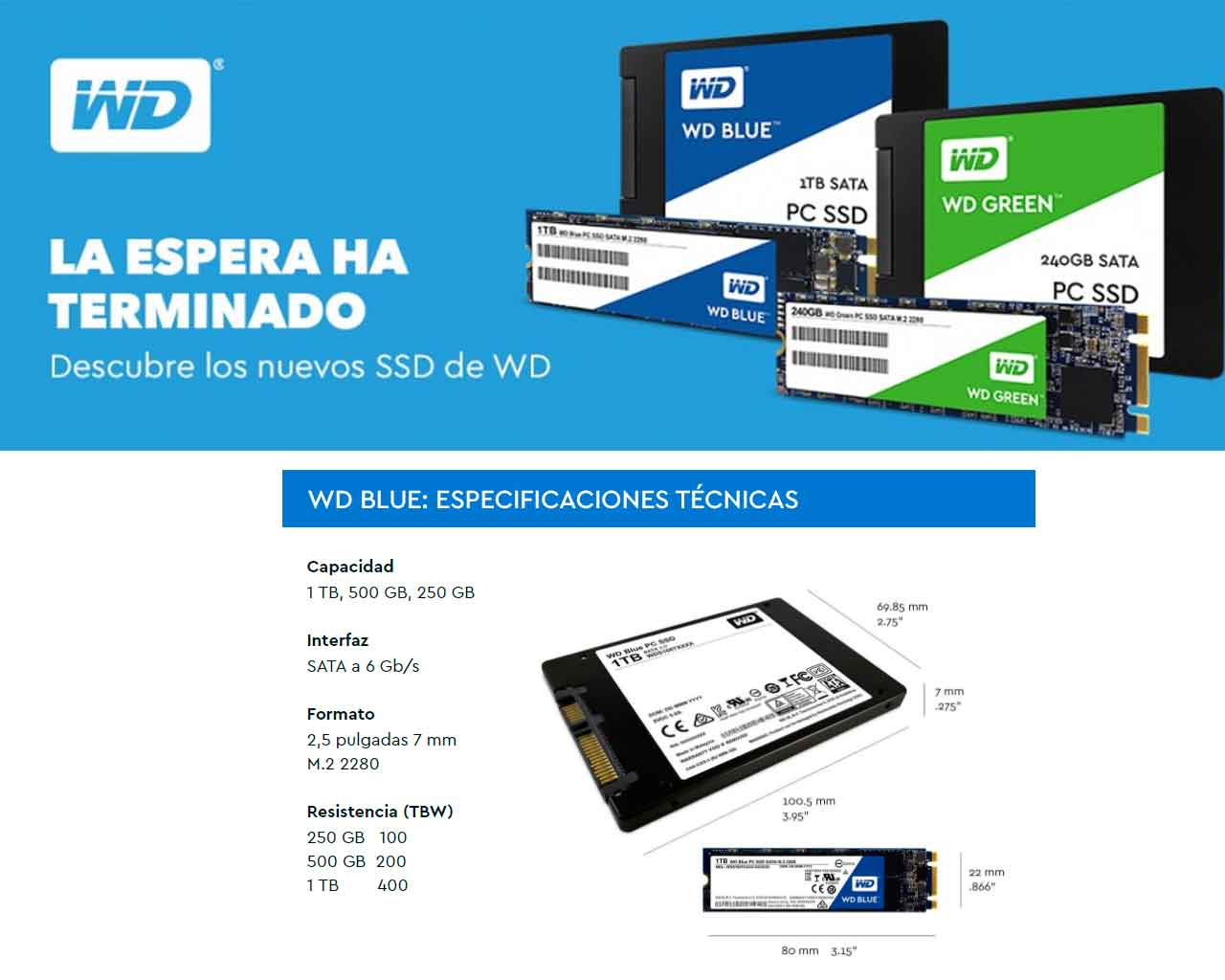 SSD WD Blue está disponible en tres versiones