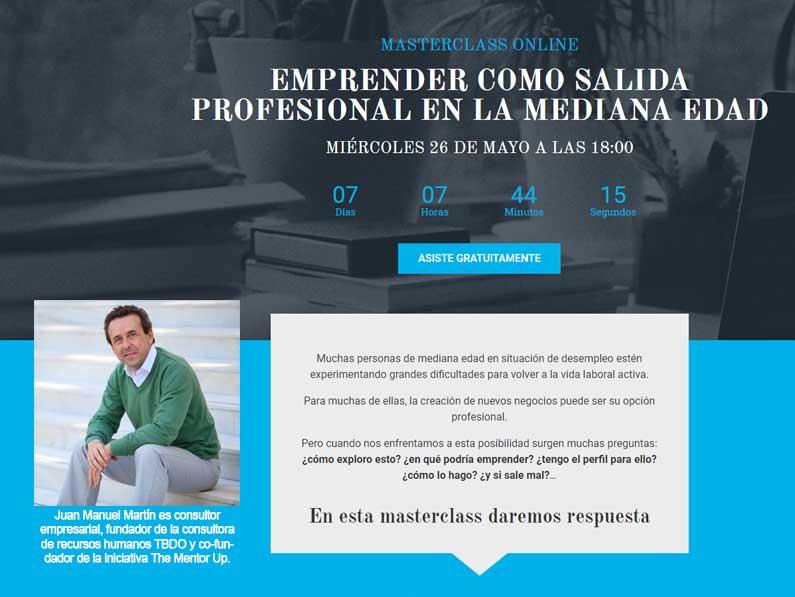 Masterclass online, cómo emprender como salida profesional en la mediana edad